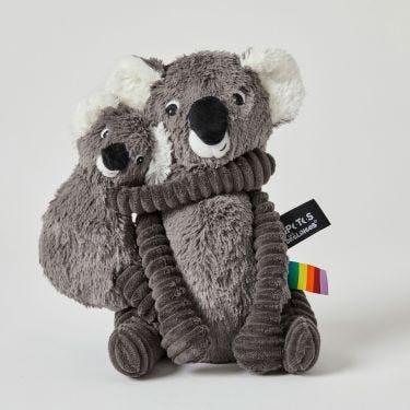 Les Deglingos Ptipotos Grey Koala and Baby Soft Toy