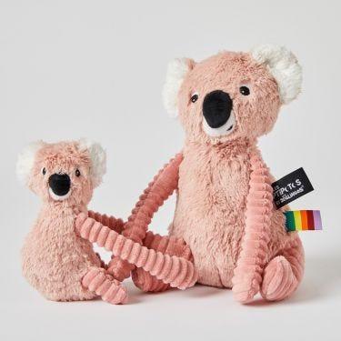 Les Deglingos Pink Koala and Baby Soft Toys