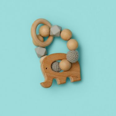 Baby Teething Toy in Wood and Silicone