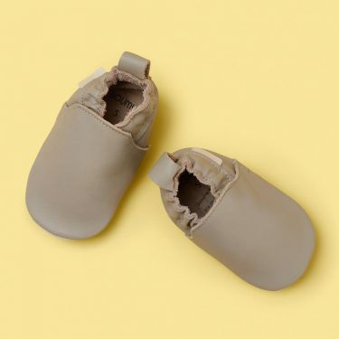 Boumy Pale Grey Soft Leather Baby Shoes 6 to 12 months