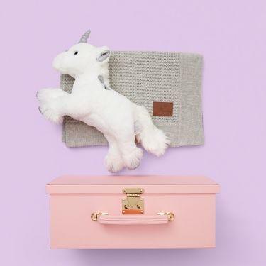 Grey Waffle Blanket + Unicorn Gift