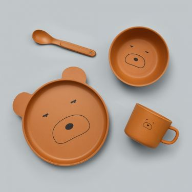 Jiggle and Giggle Panda 4 Piece Baby Bamboo Dinnerware Set