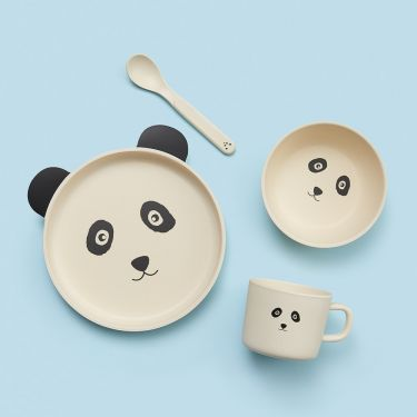 Jiggle and Giggle Panda 4 Piece Baby Bamboo Dining Set