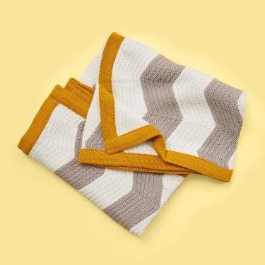 Jiggle and Giggle Zig Zag Mustard Baby Blanket