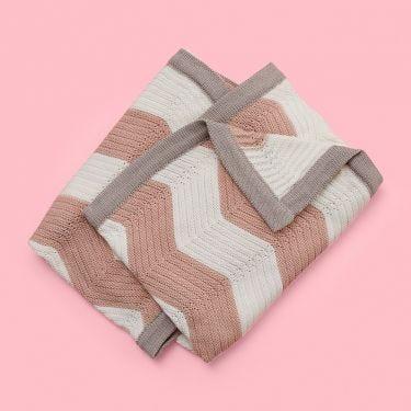 Jiggle and Giggle Zig Zag Pink Baby Blanket