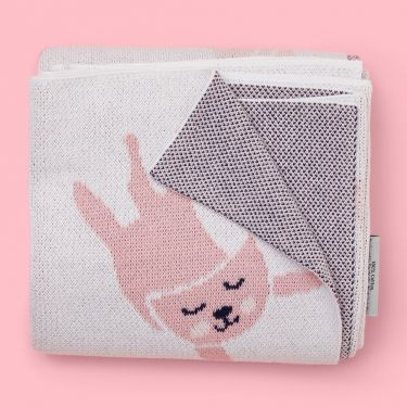 Kenzi Living Kitten Baby Blanket in Pink and White