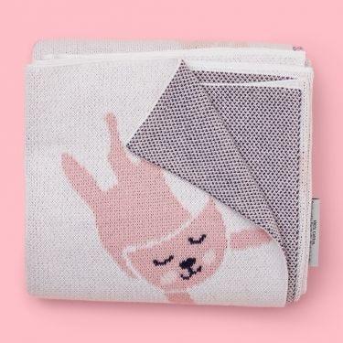 Kenzi Living Kitten Baby Blanket in Pink and White