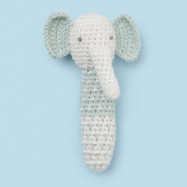 Little Bamboo Emerson the Elephant Crochet Rattle Toy in Mint Green