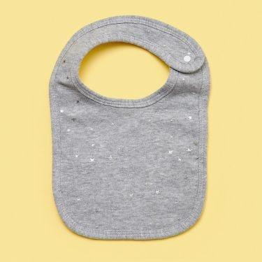 Living Textiles Grey Stars Baby Bib