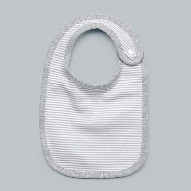 Living Textiles Baby Bib Grey Stripe