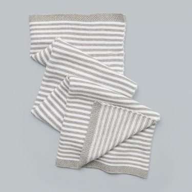 Living Textiles Knitted Stripe Blanket Grey