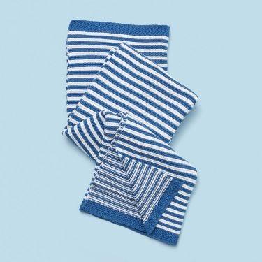 Living Textiles Knitted Stripe Blanket Navy Blue