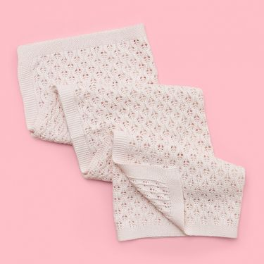 Living Textiles Lattice Baby Blanket Blush