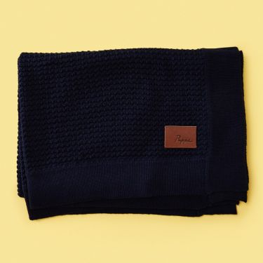 Pappe Knipton Cashmere and Cotton Waffle Blanket in Navy