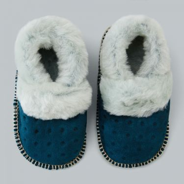 Pappe Mews Luxe Lambskin Slippers - Teal 6 to 12 months