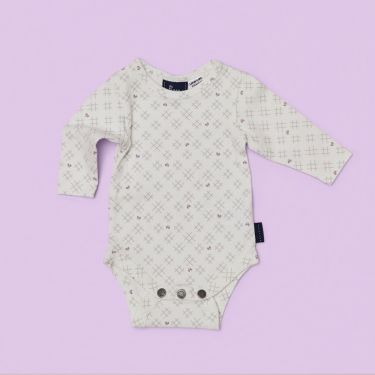 Pappe Nimmy Luxe Organic Long Sleeve Baby Romper - Hearts & Crosses