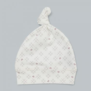 Pappe Romsey Organic Baby Knot Hat - Hearts and Crosses