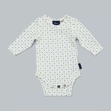 Pappe Nimmy Luxe Organic Long Sleeve Baby Romper - Mint Diamond