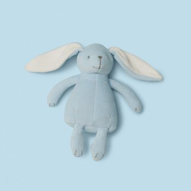 Purebaby Blue Velour Rabbit Soft Toy