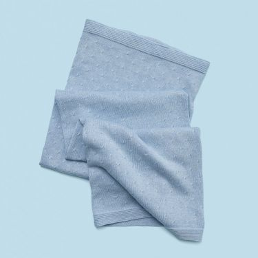 Purebaby Pale Blue Essentials Blanket made from Organic Cotton | Soul Baby Gifts