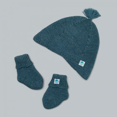 Uimi Bea Tassel Hat And Bootie Set in Merino Wool Duck Egg