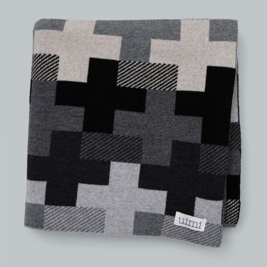 Uimi Max Double Sided Cross Pattern Blanket in Merino Wool - Black