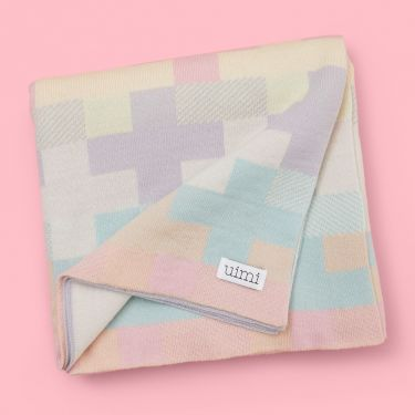 Uimi Max Double Sided Cross Pattern Blanket in Merino Wool -  Rose