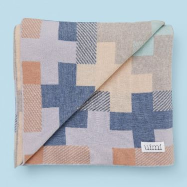 Uimi Max Double Sided Cross Pattern Blanket in Merino Wool - Tea