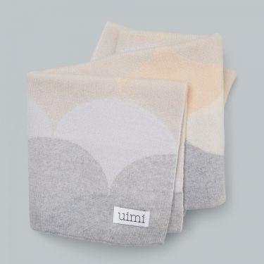 Uimi Memphis Salt Double Sided Large Scallop Bassinet Blanket in Merino Wool - Salt