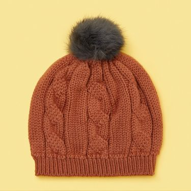 Uimi Trinity Chunky Cable Kids Beanie With Pom Pom in Merino Wool - Butterscotch