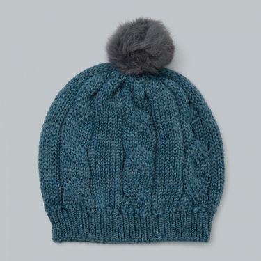 Uimi Trinity Chunky Cable Kids Beanie With Pom Pom in Merino Wool - Duck Egg