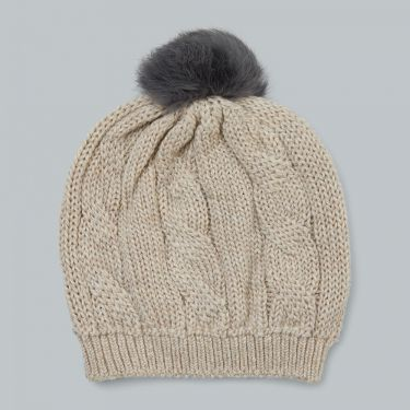 Uimi Trinity Chunky Cable Kids Beanie With Pom Pom in Merino Wool -  Oatmeal