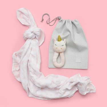 Unicorn Rattle & Swaddle Baby Girl Gift
