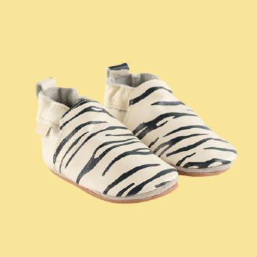 Boumy Sinki Stripe Cream Leather Baby Shoes 12m-18m