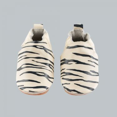 Boumy Sinki Stripe Cream Leather Baby Shoes 6m-12m