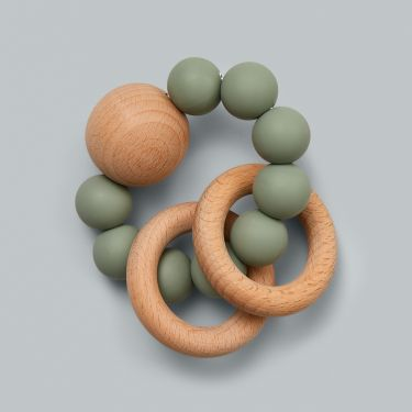 Dove and Dovelet Saturn Baby Teether Rattle Sage
