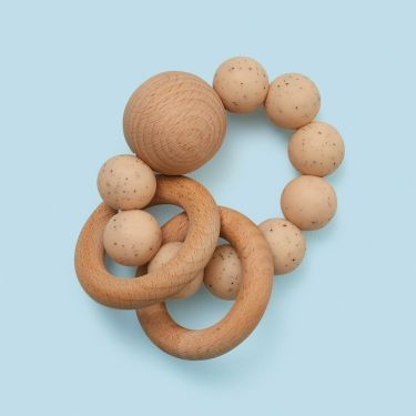 Dove and Dovelet Baby Teether Rattle in Sandstone
