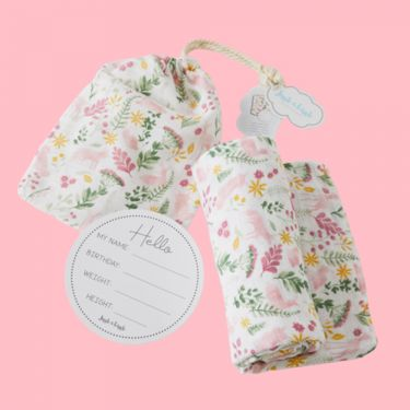 Jiggle and Giggle Earth Spirit Muslin Wrap and Arrival Card