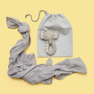 Elephant Rattle and Swaddle Baby Gift