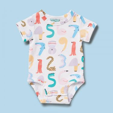 Halcyon Nights Animals Counting Short Sleeve Body Suit 3 to 6 Months