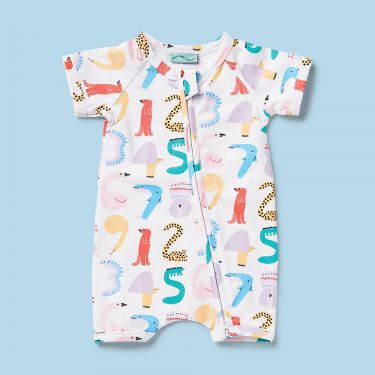 Halcyon Nights Animals Counting Short Sleeved Zip Suit