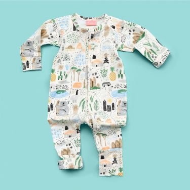 Halcyon Nights Big Adventures Long Sleeved Zip Suit Size 3 to 6 Months