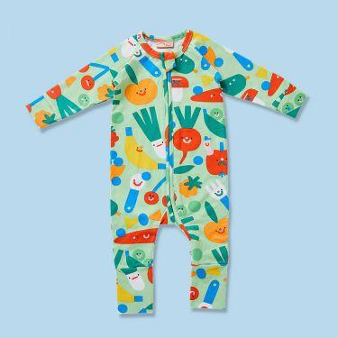 Halcyon Nights Friends w Salad Long Sleeve Zip Suit 3-6 months