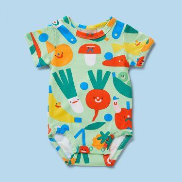 Halcyon Nights Friends w Salad Short Sleeve Bodysuit 3-6m