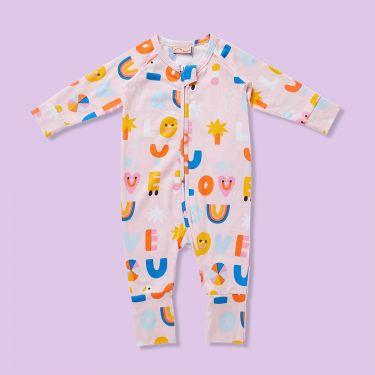 Halcyon Nights I Love You Blush Long Sleeve Zip Suit 3-6m