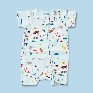 Halcyon Nights World Map Short Sleeved Zip Suit 3 to 6 Months