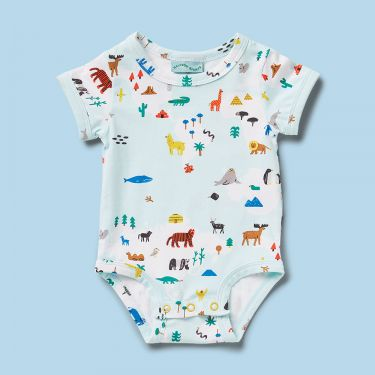 Halcyon Nights World Map Short Sleeve Body Suit 3 to 6 Months