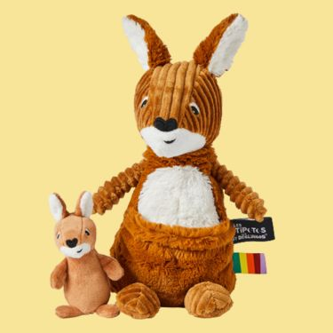 Les Deglingos Ptipotos Kangaroo and Joey Soft Toy