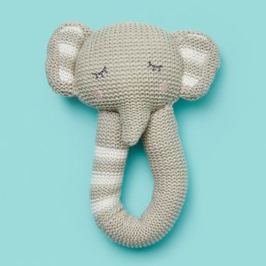 Living Textiles Elephant Baby Hand Rattle