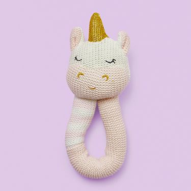 Living Textiles Kenzie the Unicorn Baby Hand Rattle